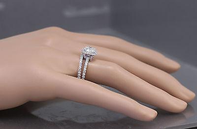 GIA G-VS2 18k White Gold Cushion Cut Diamond Engagement Ring And Band Halo 2.30c 9