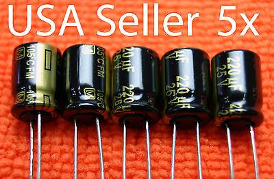 5x Panasonic Fm 220uf 25v Low-esr Electrolytic Capacitor. New Usa Seller