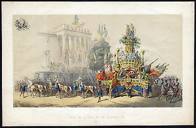 Antique Print-BRUSSELS-FESTIVAL FLOAT-PEACE-PAX-LEOPOLD I-BELGIUM-Gerlier-1856