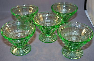 Vintage Hocking Glass Block Optic Green Uranium Vaseline 5 ea. Sherbet 1929-33