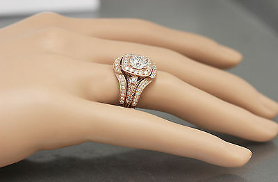 GIA H-VS2 14k Rose Gold Round Cut Diamond Engagement Ring And Bands 2.70ctw 6