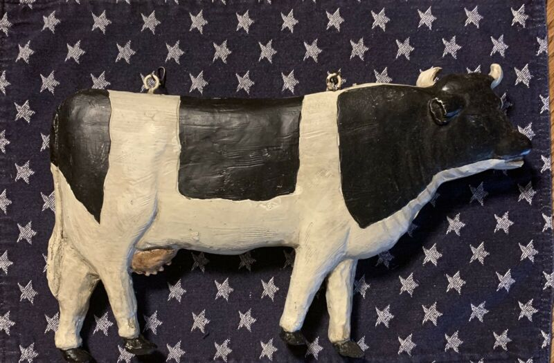 Black And White Cow With Hooks To Hang On Post ~Resin~