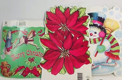 Vintage Eureka Christmas Die Cut Paper Decorations Lot 80s XMas USA 6 NEW - 80s Xmas Decorations