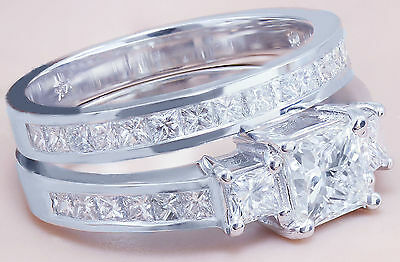 GIA H-VS2 14k white gold princess cut diamond engagement ring and band 2.00ctw 8
