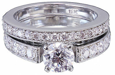 GIA H-SI1 14k White Gold Round Cut Diamond Engagement Ring And Band Deco 1.45ctw 8