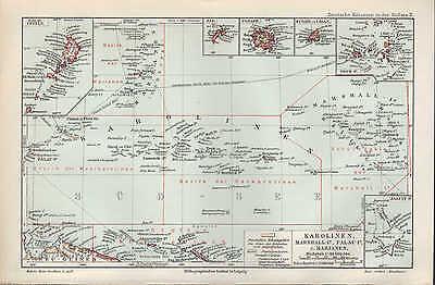 Landkarte map 1906: KAROLINEN, MARSHALL-PALAU-INSELN, MARIANEN.