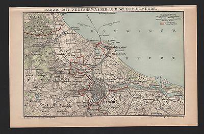Landkarte map 1900: DANZIG mit NEUFAHRWASSER WEICHSELMÜNDE. Plan Miasta Gdańsk