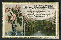 C1920s Birthday Card: Roses In Vase & Forest: Fortune In Glad Places Steer You -  - ebay.co.uk
