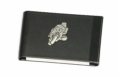Motorbike 1 Design Black Pu And Metal Business Or Credit Card Holder Gift 244