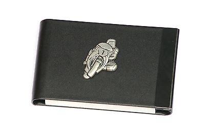 Motorbike 1 Design Black Pu And Metal Business Or Credit Card Holder Gift 244
