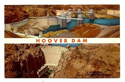Hoover Dam Postcard Nevada Arizona Colorado River Lake Mead Aerial Views Vintage