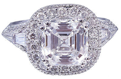 GIA I-VS2 18k White Gold Asscher Cut Diamond Engagement Ring Etoile Deco 2.85ctw 11