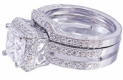GIA G-VS2 14K white gold princess cut diamond engagement ring and band 2.50ctw 5