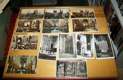 THIRTEEN CHESTER CATHEDRAL POSTCARDS 1905 on