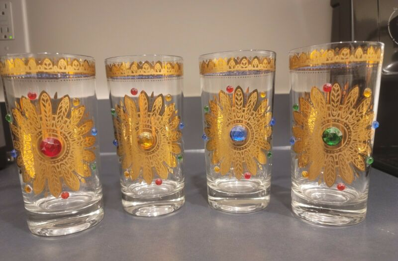 4 Culver starburst dreamcatcher hiball glasses JEWEL GOLD MCM SIGNED multi-color