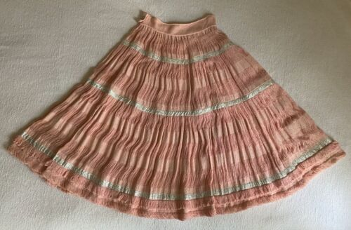"VTG 1950s Pink Cotton Patio Squaw Circle Skirt | Silver Brocade Ribbon | 28"" W"
