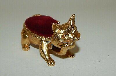 Vintage Florenza Signed Goldtone Metal Red Velvet Nodder Cat Pin Cushion