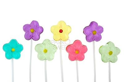 120 Ct Pink! Twinkle Pops Daisy Lollipops Long-Stem Lollipops Fruity Made in USA