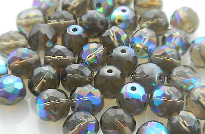 600 Pcs WHOLESALE 8mm CZECH GLASS FIRE POLISHED Faceted BEADS - BLACK DIAM. AB