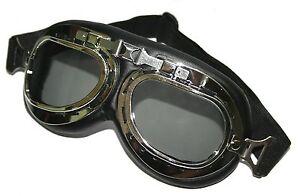 Oldtimer-Schutzbrille-Motorradbrille-Chrom-Schwarz-Pilotenbrille-fuer-AWO-EMW-DKW