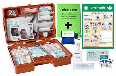 Erste-Hilfe-Koffer M3 PLUS für Betriebe DIN 13157 + Aushang DIN A3 + Verbandbuch