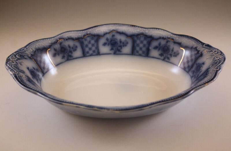 W.H. GRINDLEY MELBOURNE FLOW BLUE OVAL VEGETABLE BOWL antique
