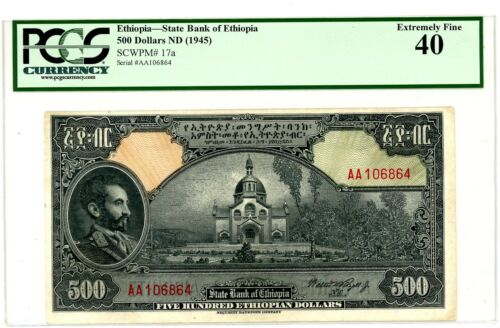 Ethiopia ... P-17a ... 500 Dollars ... ND(1945) ... *XF* ... PCGS 40 (XF).