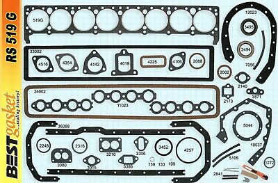 1936-1952 Buick 320 Straight-8 Engine. Full Gasket Set. Best. Free Shipping!
