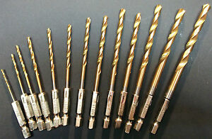 Toolzone-DR100-New-13pc-HSS-Drill-Bit-Set-with1-4-Hex-Shank-Titanium-Coated
