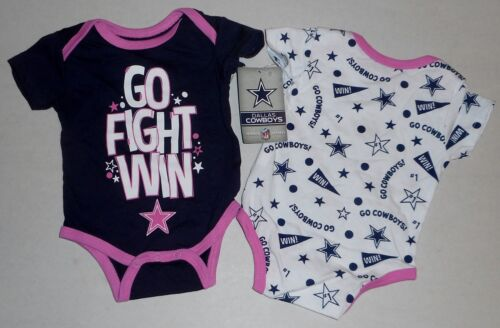 DALLAS COWBOYS BODY SUIT 2 PC SET BABY GIRL 3 6 9 12 MOS NWT ROMPER JUMPER PINK