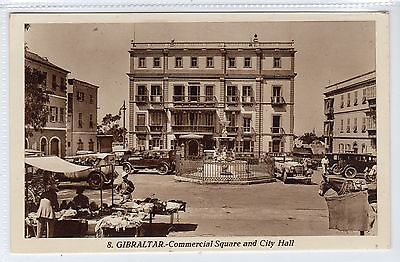 COMMERCIAL SQUARE AND CITY HALL: Gibraltar postcard (C22811)