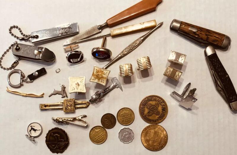 Vtg Retro Mens Junk Drawer Lot Of Cuff Links Tie Bars Pocket Knives Misc-Estate