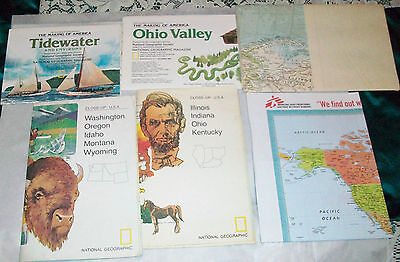 6 Maps-Nat Geo 1957, 1970's, 1980's & Rand McNally, U.S. States & World