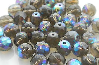 100 Pcs WHOLESALE  6mm Czech Glass Fire Polished Faceted Beads - BLACK DIAM. - Czech Glass Beads Wholesale