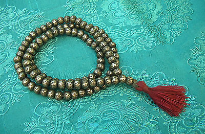 Mala from Solid Silber-Beads from Nepal with Mantra: Om Mane Padme Hum