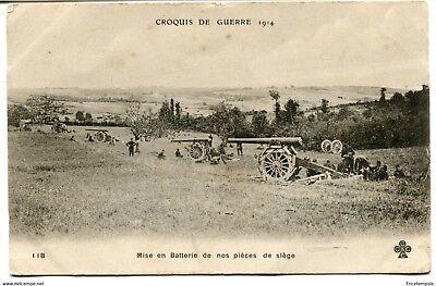 CPA-Carte postale-France - Croquis de Guerre - Mise en batterie de nos pièces