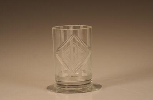 Vintage Deco Hawkes Glass Crystal Cigarette Holder with Monogram Signed c.1930