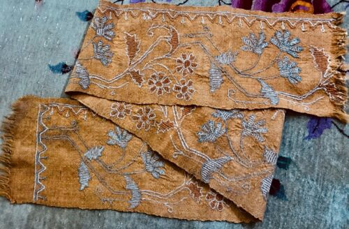 Antique Farmhouse Primitive Hand Made Wool Tapestry Runner and Two Panels