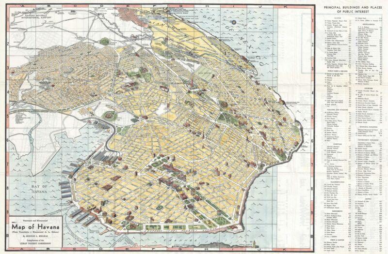 1953 Mirabal Pictorial Map of Havana, Cuba
