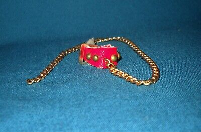 Vintage Barbie DOG & DUDS #1613 Red Collar w/ 4 Studs and Gold Chain Leash 1964