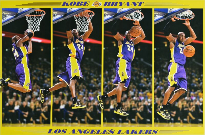 KOBE BRYANT LAKERS POSTER Dunk in Motion, size 24x36