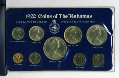 BAHAMAS 1970 9 PIECE UNCIRCULATED SPECIMEN SET WITH SILVER COINS