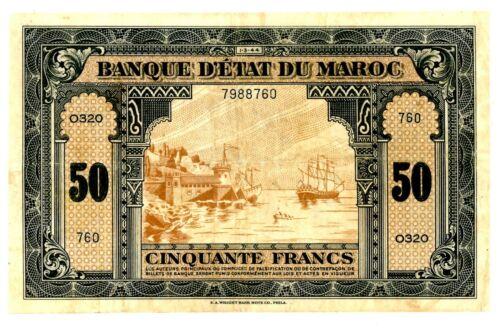 Morocco  … P-26 … 50 Francs … 1.3.1944 … *VF-XF*.