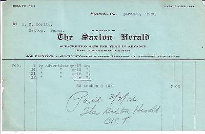 1936 THE SAXTON HERALD Saxton PENNSYLVANIA E. C. MORITS Bell Phone 4
