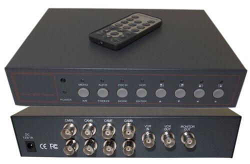 Evertech 8 Ch Analog Quad Processor Video Screen Switch Security Camera Splitter