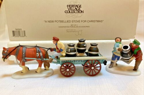 Dept 56 Village A NEW POTBELLIED STOVE FOR CHRISTMAS #56593 Set of 2 Horse Cart