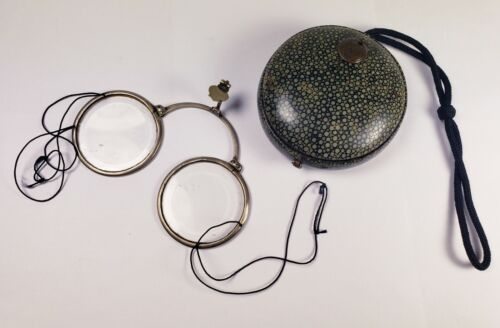 Genuine antique Chinese spectacles & shagreen eyeglass case. Excellent condition