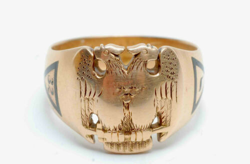 14K SOLID YELLOW GOLD MASONIC RING 32ND DEGREE DOUBLE EAGLE 1915 PROVENANCE 8.8g