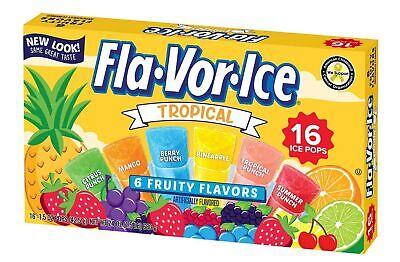 Fla-Vor-Ice Freezer Pops, Fat Free Ice Pops, Tropical Flavors (12 Boxes, 16 -...