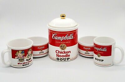 Vintage Campbell's Soup Canister Mugs Soup Bowls 1990s 5 Item Lot CLEAN
